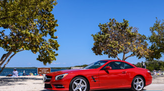 2013 Mercedes SL550 Red top up ocean beach