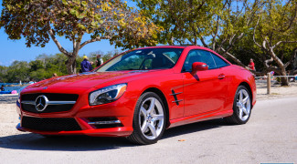 2013 Mercedes SL550 Red front 3/4 top up