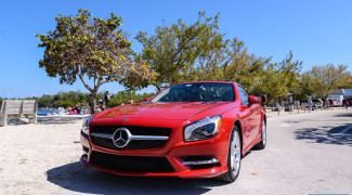2013 Mercedes SL550 Red front top up ocean