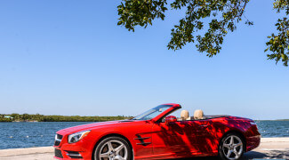 2013 Mercedes SL550 Red top down close side profile ocean