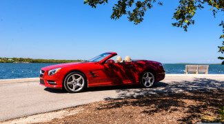 2013 Mercedes SL550 Red top down side profile ocean
