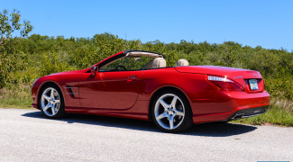 2013 Mercedes SL550 Red top down 3/4 profile
