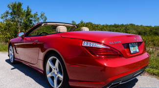 2013 Mercedes SL550 Red top down close 3/4 profile