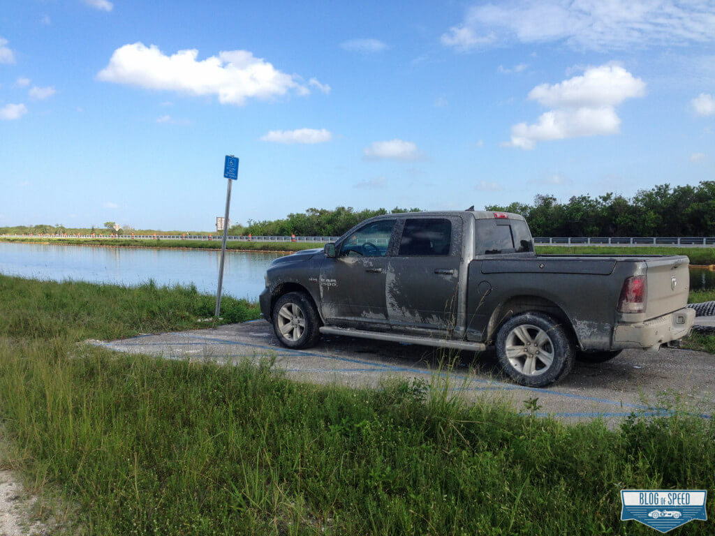 2013 Ram 1500 Sport 4x4 in front of a boatramp in the middle of the everglades