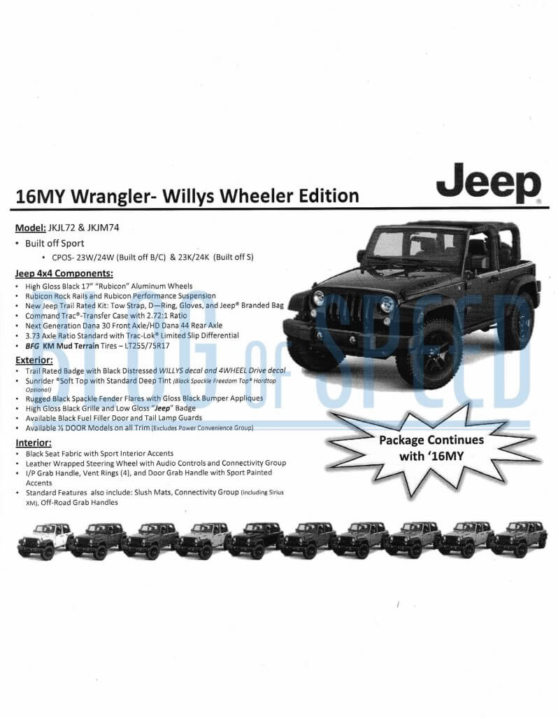 2016 Jeep Wrangler order guide page 6