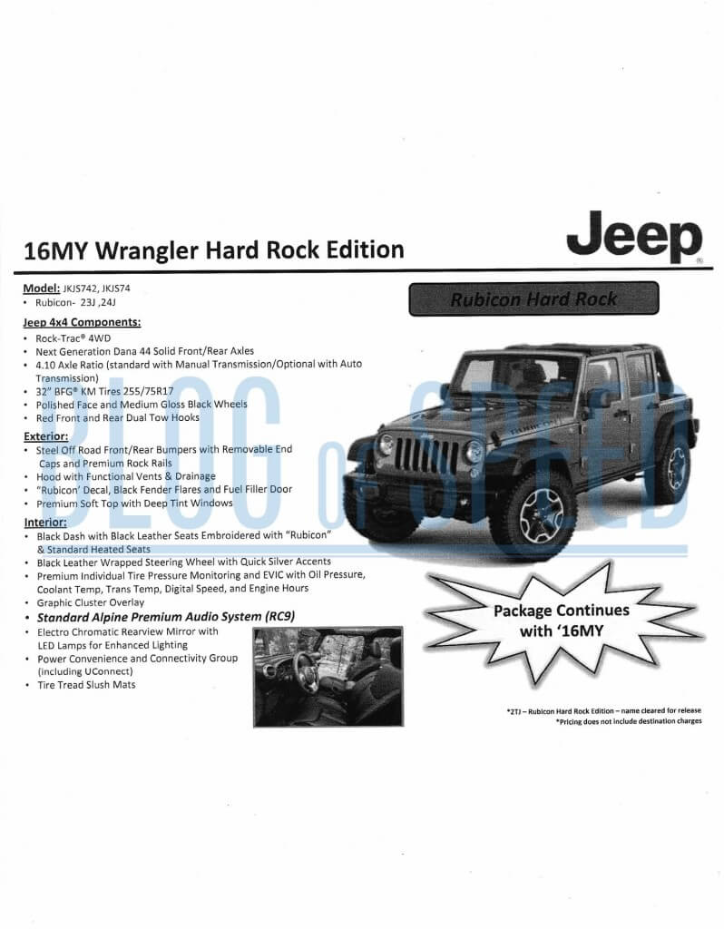 2016 Jeep Wrangler order guide page 7